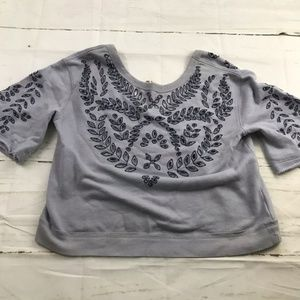 Free People blue Slouchy sweater floral eyelet